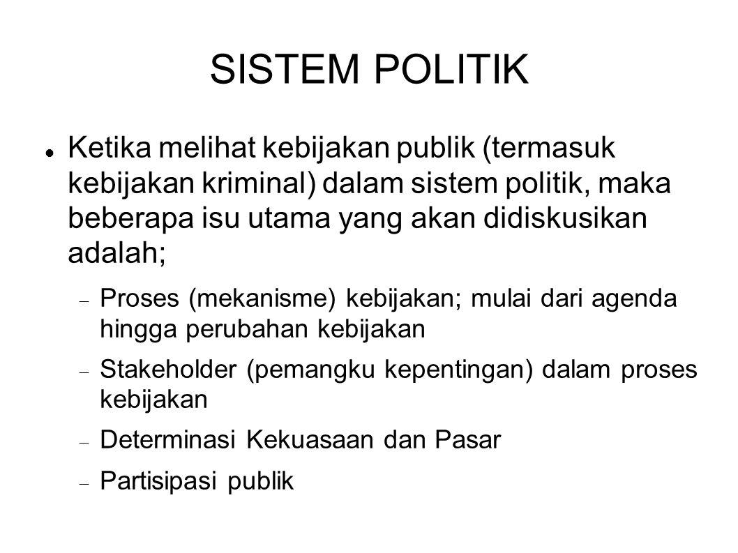 SISTEM POLITIK Ketika melihat kebijakan publik (termasuk kebijakan kriminal) dalam sistem politik, maka beberapa isu utama yang akan didiskusikan adal