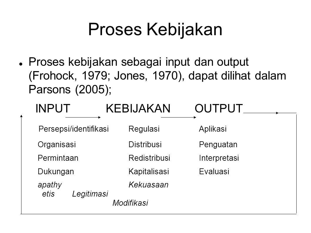 Proses Kebijakan Proses kebijakan sebagai input dan output (Frohock, 1979; Jones, 1970), dapat dilihat dalam Parsons (2005); INPUT KEBIJAKAN OUTPUT Pe