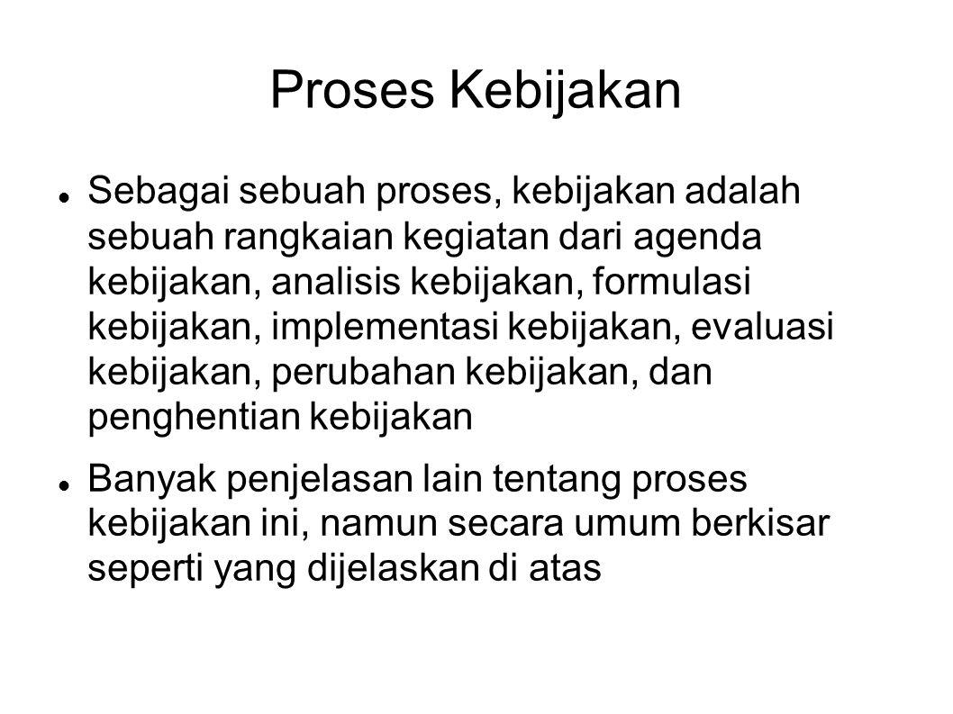 Proses Kebijakan Sebagai sebuah proses, kebijakan adalah sebuah rangkaian kegiatan dari agenda kebijakan, analisis kebijakan, formulasi kebijakan, imp