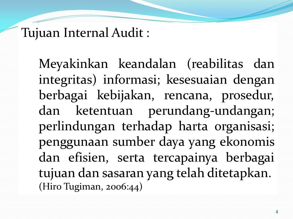 4 Tujuan Internal Audit : Meyakinkan keandalan (reabilitas dan integritas) informasi; kesesuaian dengan berbagai kebijakan, rencana, prosedur, dan ket