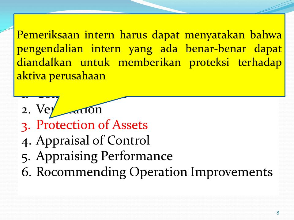 8 Kegiatan Utama Pemeriksaan : 1.Complience test 2.Verification 3.Protection of Assets 4.Appraisal of Control 5.Appraising Performance 6.Rocommending