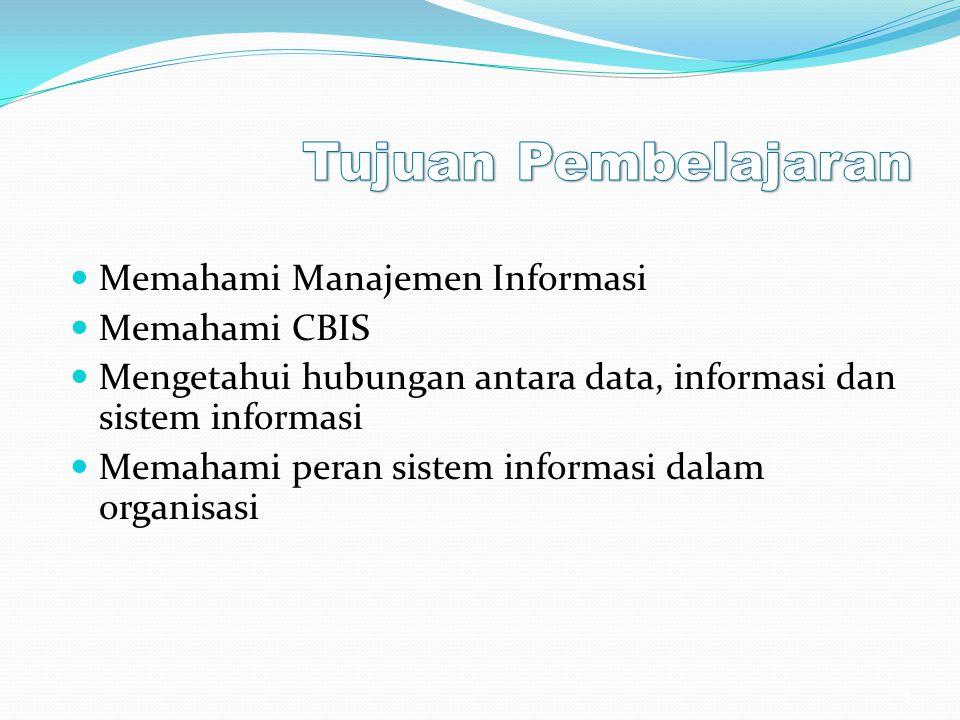 Memahami Manajemen Informasi Memahami CBIS Mengetahui hubungan antara data, informasi dan sistem informasi Memahami peran sistem informasi dalam organ