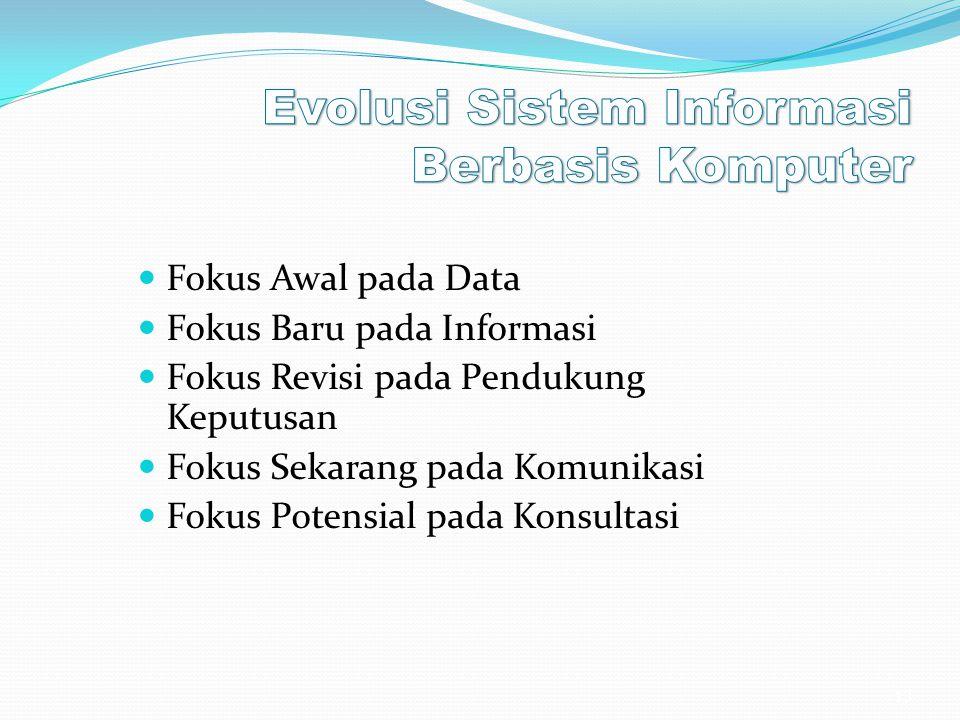 Fokus Awal pada Data Fokus Baru pada Informasi Fokus Revisi pada Pendukung Keputusan Fokus Sekarang pada Komunikasi Fokus Potensial pada Konsultasi 13