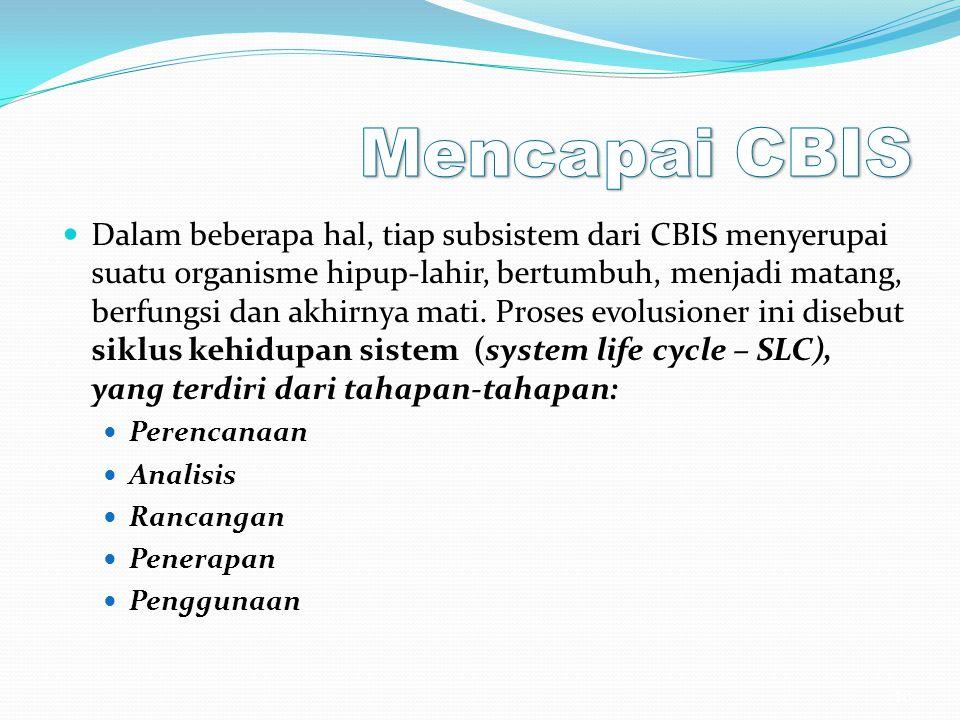 Dalam beberapa hal, tiap subsistem dari CBIS menyerupai suatu organisme hipup-lahir, bertumbuh, menjadi matang, berfungsi dan akhirnya mati. Proses ev