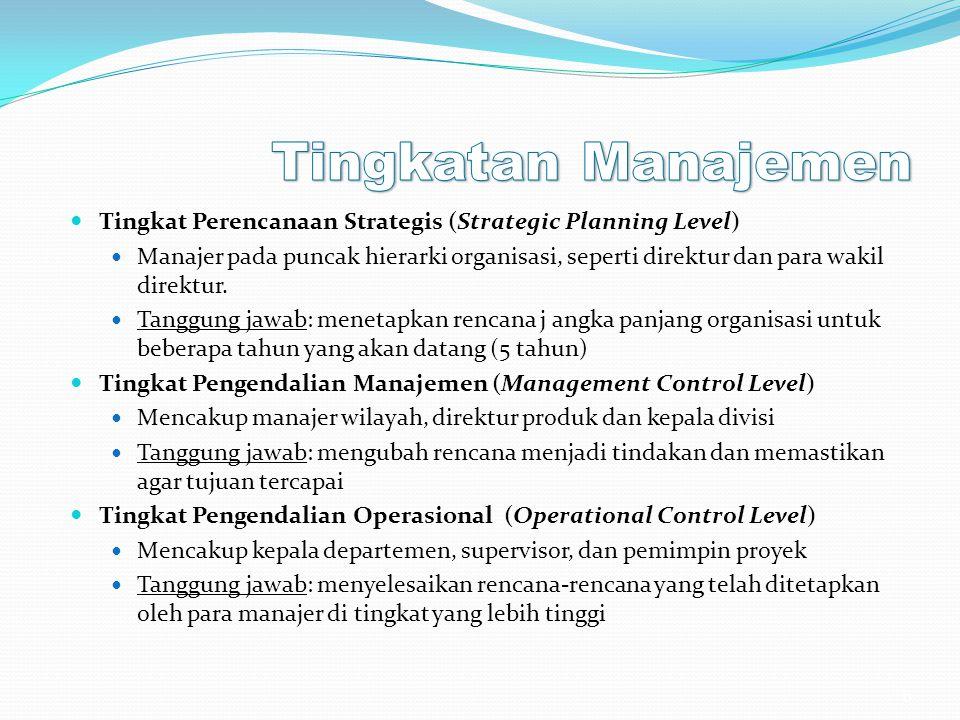 Tingkat Perencanaan Strategis (Strategic Planning Level) Manajer pada puncak hierarki organisasi, seperti direktur dan para wakil direktur. Tanggung j
