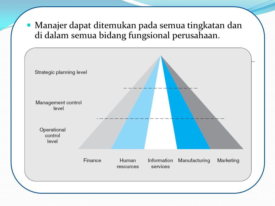 Manajer dapat ditemukan pada semua tingkatan dan di dalam semua bidang fungsional perusahaan. 7