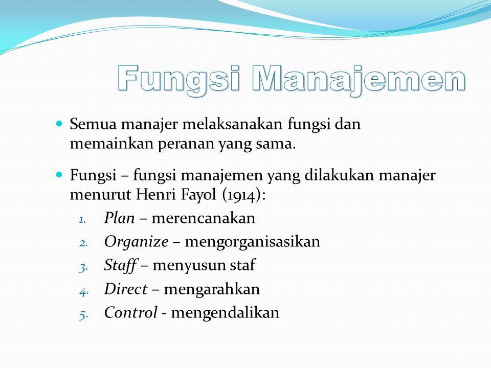 Semua manajer melaksanakan fungsi dan memainkan peranan yang sama. Fungsi – fungsi manajemen yang dilakukan manajer menurut Henri Fayol (1914): 1. Pla