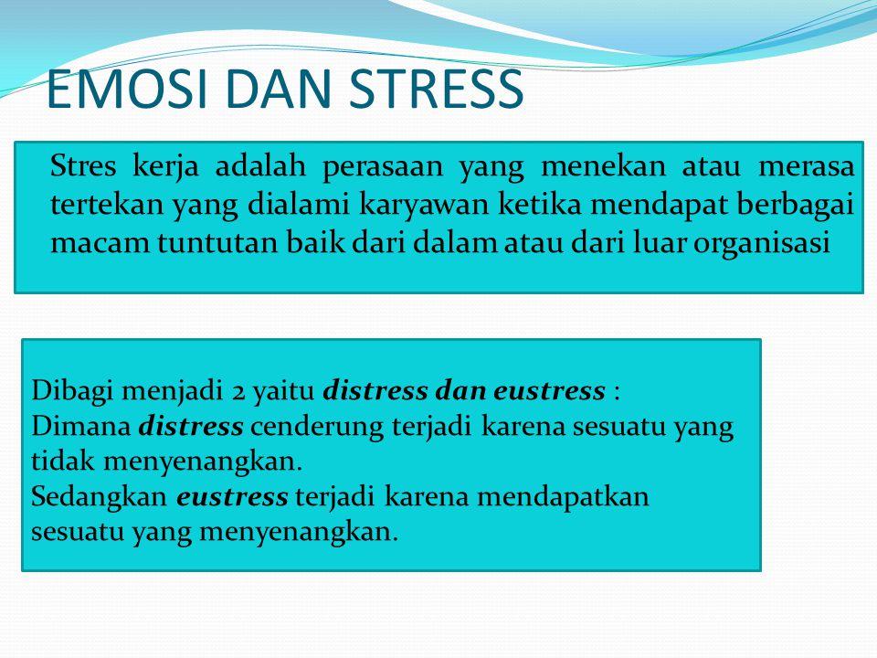EMOSI DAN STRESS Stres kerja adalah perasaan yang menekan atau merasa tertekan yang dialami karyawan ketika mendapat berbagai macam tuntutan baik dari