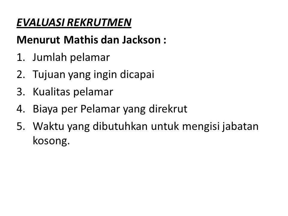 EVALUASI REKRUTMEN Menurut Mathis dan Jackson : 1.Jumlah pelamar 2.Tujuan yang ingin dicapai 3.Kualitas pelamar 4.Biaya per Pelamar yang direkrut 5.Wa