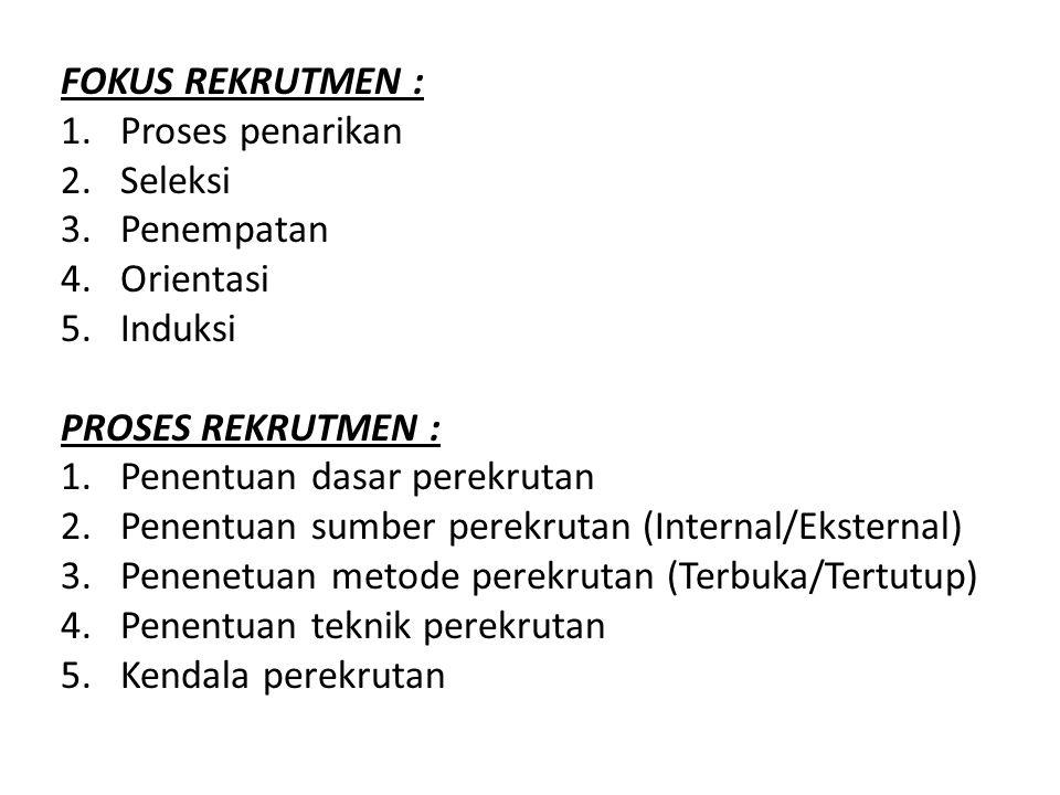DASAR REKRUTMEN : 1.Analisis pekerjaan (job analysis) 2.Uraian pekerjaan (job description) 3.Spesifikasi pekerjaan (job specification) 4.Persyaratan pekerjaan (job enlargement) 5.Penyederhanaan pekerjaan (work simplification) SUMBER REKRUTMEN 1.Internal : Dari dalam perusahaan 2.Eksternal : Dari luar perusahaan METODE REKRUTMEN 1.Terbuka : Informasi keluar perusahaan 2.Tertutup : Informasi internal perusahaan