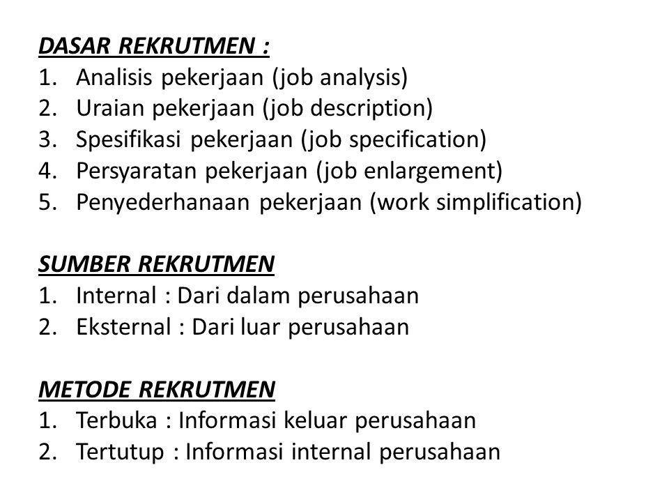 DASAR REKRUTMEN : 1.Analisis pekerjaan (job analysis) 2.Uraian pekerjaan (job description) 3.Spesifikasi pekerjaan (job specification) 4.Persyaratan p