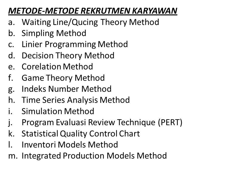 METODE-METODE REKRUTMEN KARYAWAN a.Waiting Line/Qucing Theory Method b.Simpling Method c.Linier Programming Method d.Decision Theory Method e.Corelati