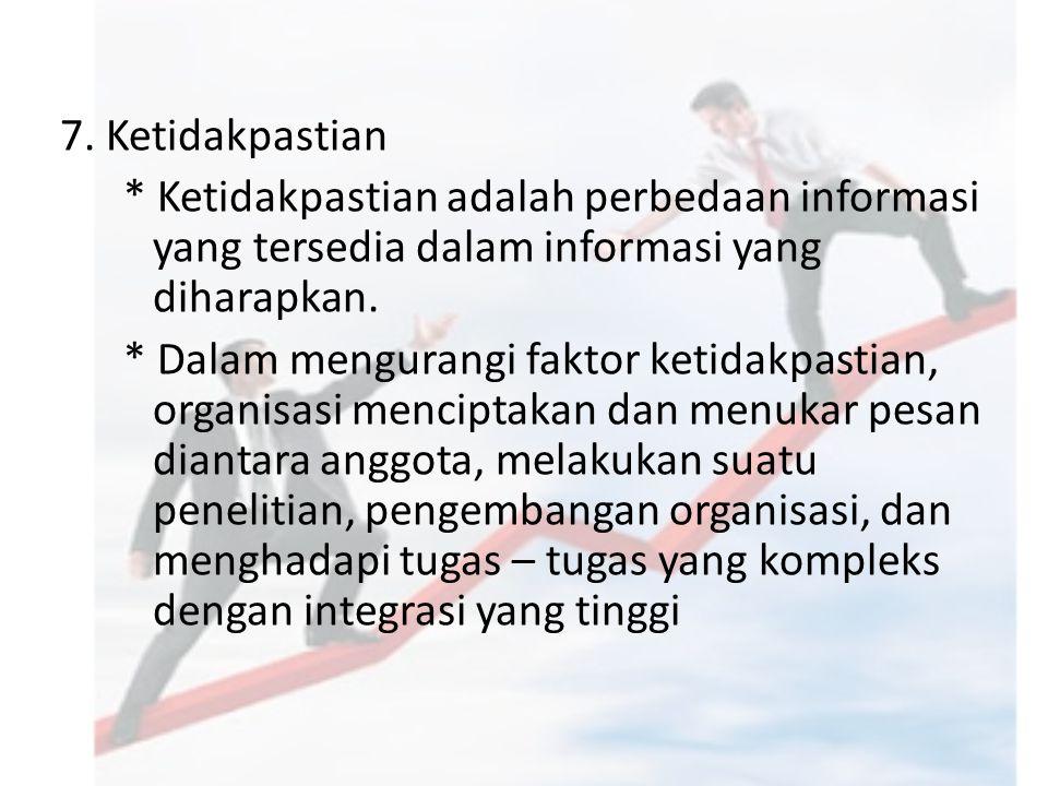 7. Ketidakpastian * Ketidakpastian adalah perbedaan informasi yang tersedia dalam informasi yang diharapkan. * Dalam mengurangi faktor ketidakpastian,