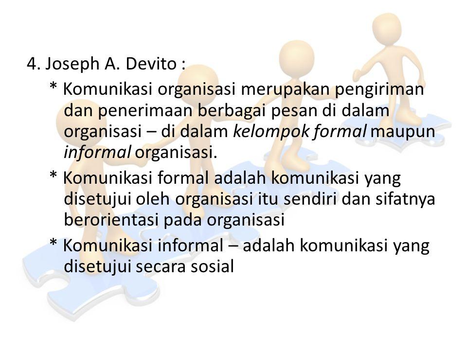 4. Joseph A. Devito : * Komunikasi organisasi merupakan pengiriman dan penerimaan berbagai pesan di dalam organisasi – di dalam kelompok formal maupun