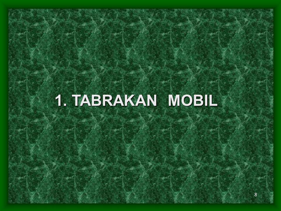 9 Mekanisme : 1. Frontal 2. Belakang 3. Samping (T-bone) 4. Terbalik (roll-over)