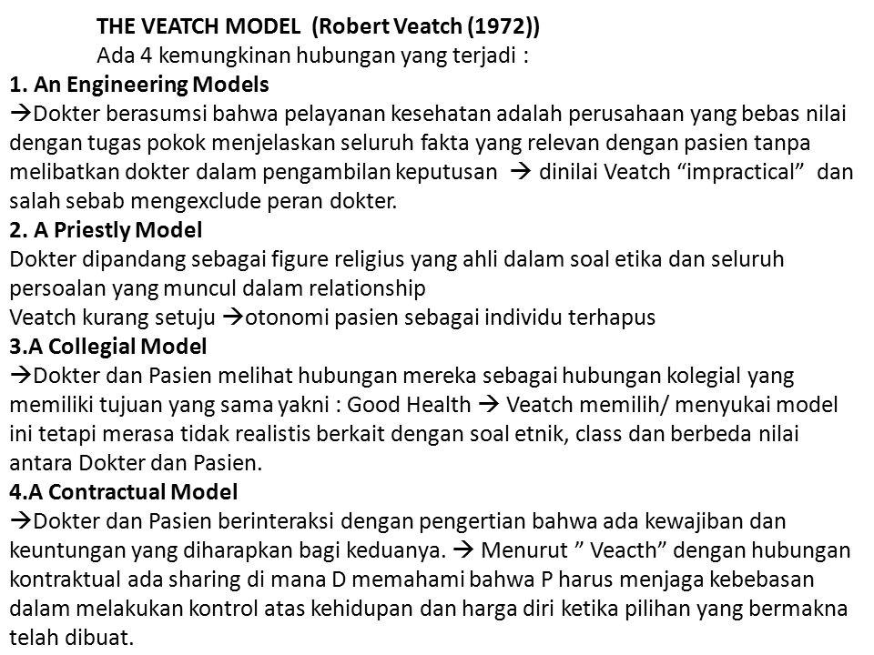 THE VEATCH MODEL (Robert Veatch (1972)) Ada 4 kemungkinan hubungan yang terjadi : 1. An Engineering Models  Dokter berasumsi bahwa pelayanan kesehata