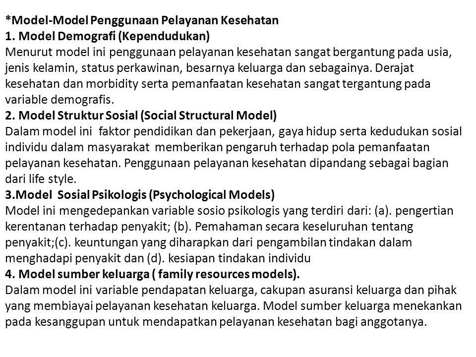 *Model-Model Penggunaan Pelayanan Kesehatan 1. Model Demografi (Kependudukan) Menurut model ini penggunaan pelayanan kesehatan sangat bergantung pada
