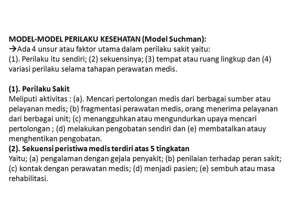 MODEL-MODEL PERILAKU KESEHATAN (Model Suchman):  Ada 4 unsur atau faktor utama dalam perilaku sakit yaitu: (1). Perilaku itu sendiri; (2) sekuensinya