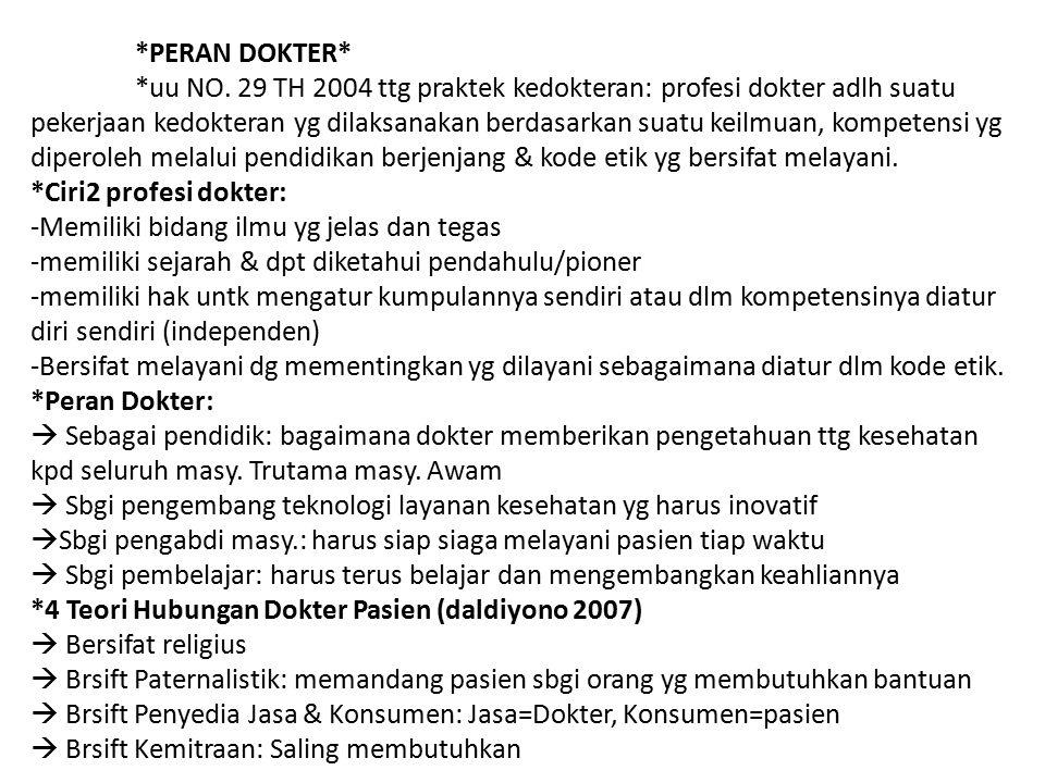 *PERAN DOKTER* *uu NO. 29 TH 2004 ttg praktek kedokteran: profesi dokter adlh suatu pekerjaan kedokteran yg dilaksanakan berdasarkan suatu keilmuan, k