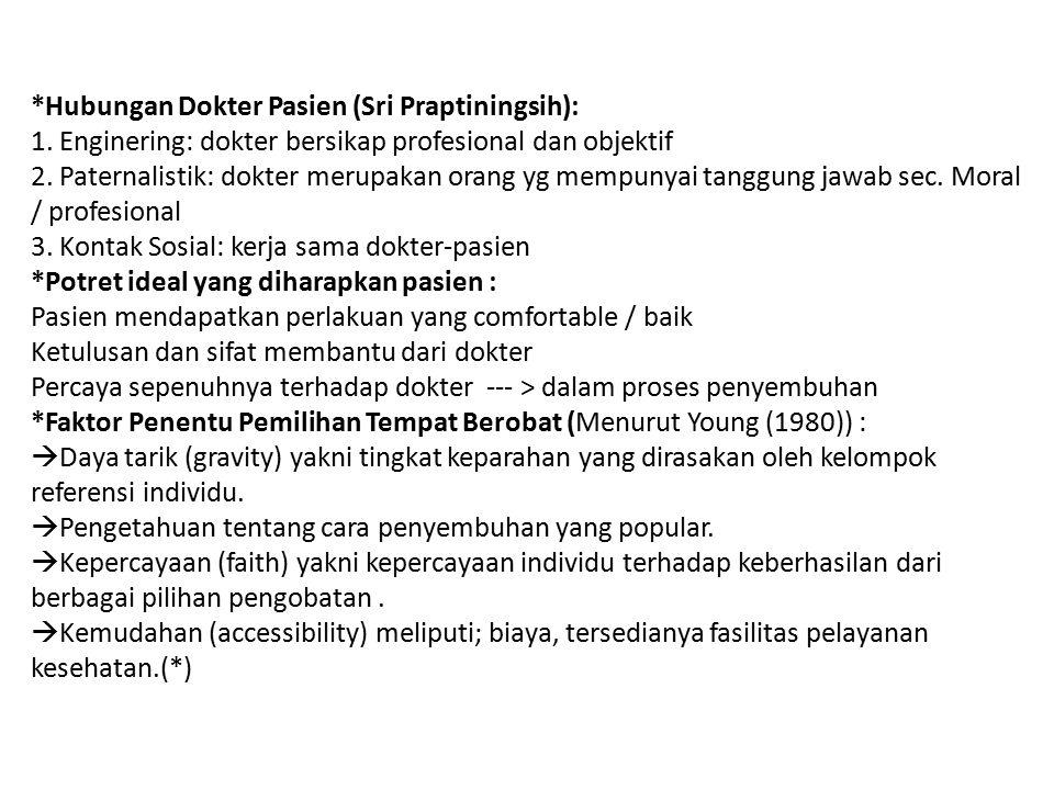 *Hubungan Dokter Pasien (Sri Praptiningsih): 1. Enginering: dokter bersikap profesional dan objektif 2. Paternalistik: dokter merupakan orang yg mempu