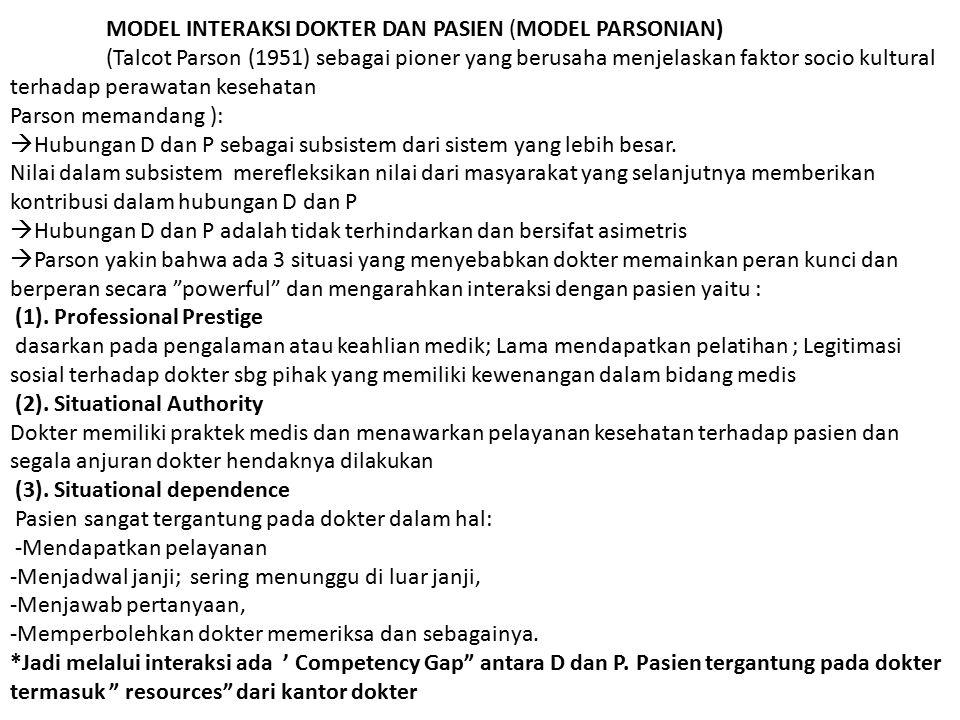 MODEL INTERAKSI DOKTER DAN PASIEN (MODEL PARSONIAN) (Talcot Parson (1951) sebagai pioner yang berusaha menjelaskan faktor socio kultural terhadap pera