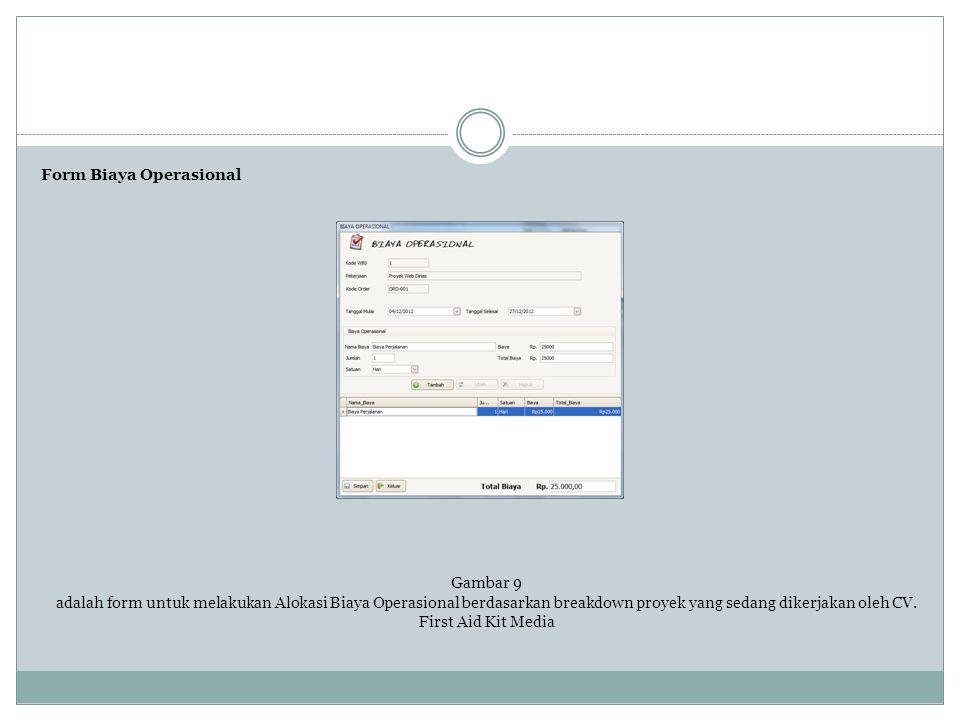 Form Biaya Operasional Gambar 9 adalah form untuk melakukan Alokasi Biaya Operasional berdasarkan breakdown proyek yang sedang dikerjakan oleh CV. Fir