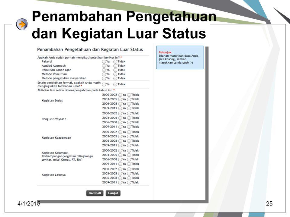 Penambahan Pengetahuan dan Kegiatan Luar Status 4/1/201525