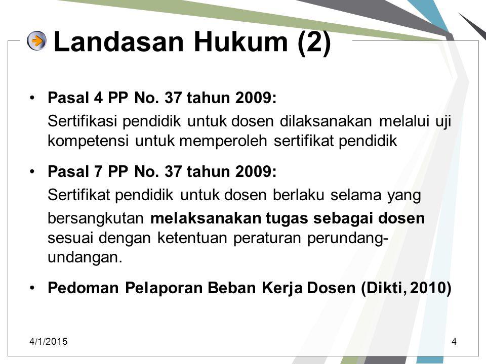 Landasan Hukum (2) Pasal 4 PP No. 37 tahun 2009: Sertifikasi pendidik untuk dosen dilaksanakan melalui uji kompetensi untuk memperoleh sertifikat pend