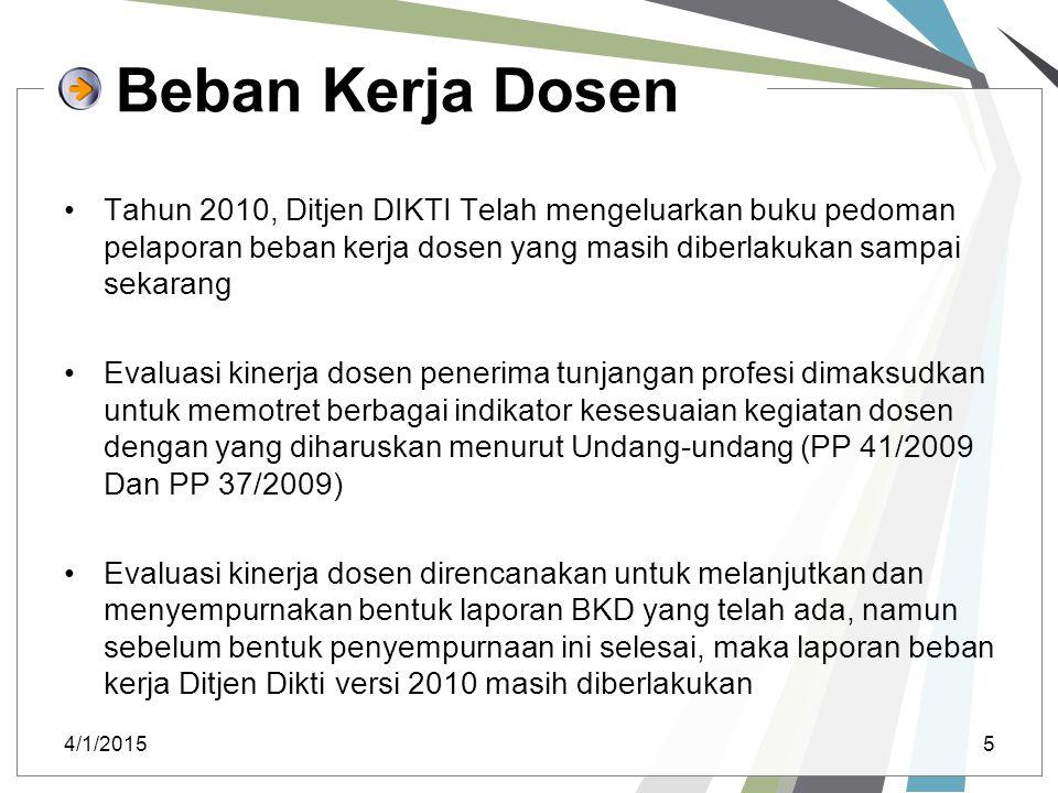 Beban Kerja Dosen Tahun 2010, Ditjen DIKTI Telah mengeluarkan buku pedoman pelaporan beban kerja dosen yang masih diberlakukan sampai sekarang Evaluas