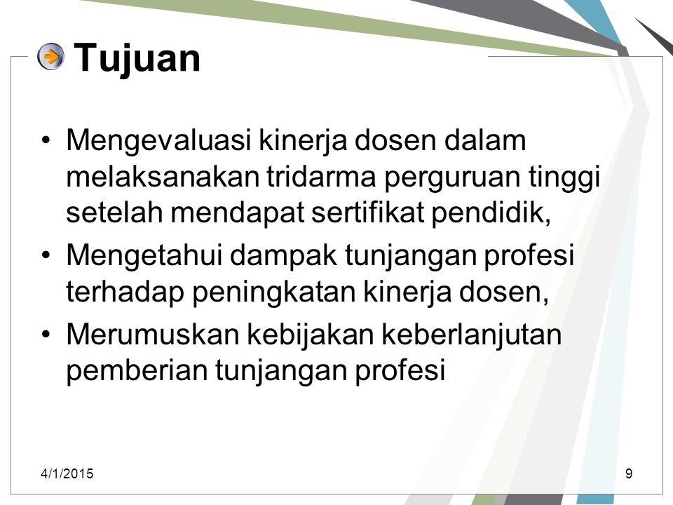 Tujuan Mengevaluasi kinerja dosen dalam melaksanakan tridarma perguruan tinggi setelah mendapat sertifikat pendidik, Mengetahui dampak tunjangan profe