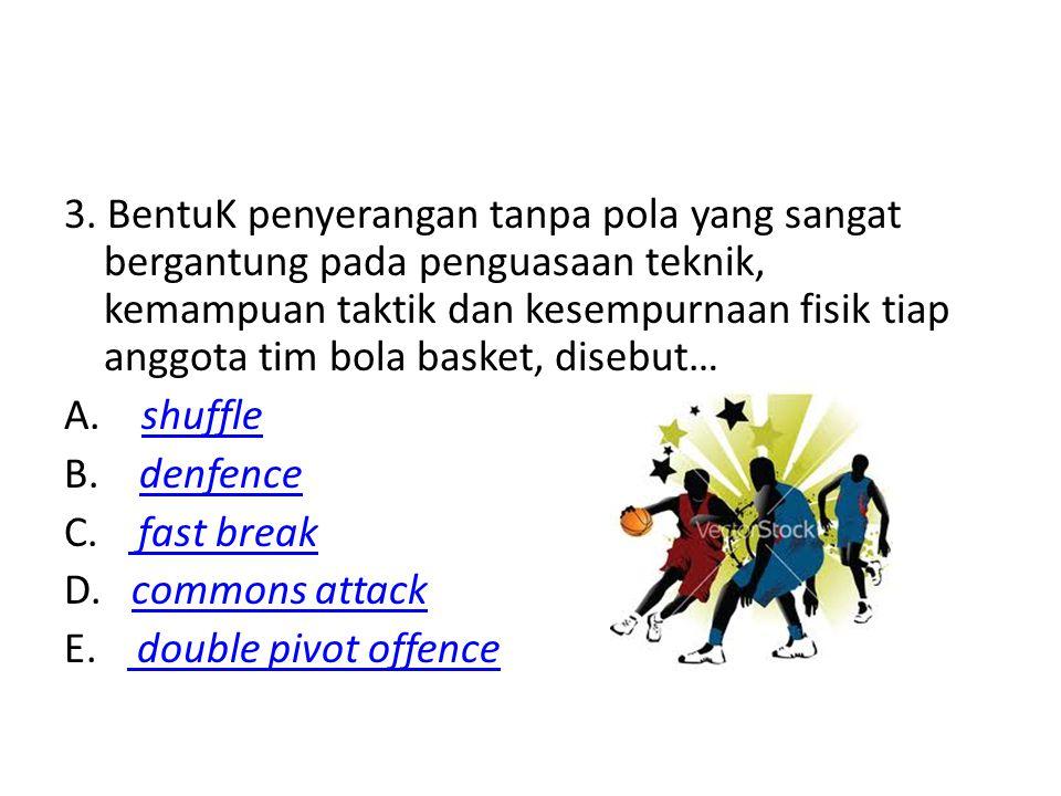 3. BentuK penyerangan tanpa pola yang sangat bergantung pada penguasaan teknik, kemampuan taktik dan kesempurnaan fisik tiap anggota tim bola basket,