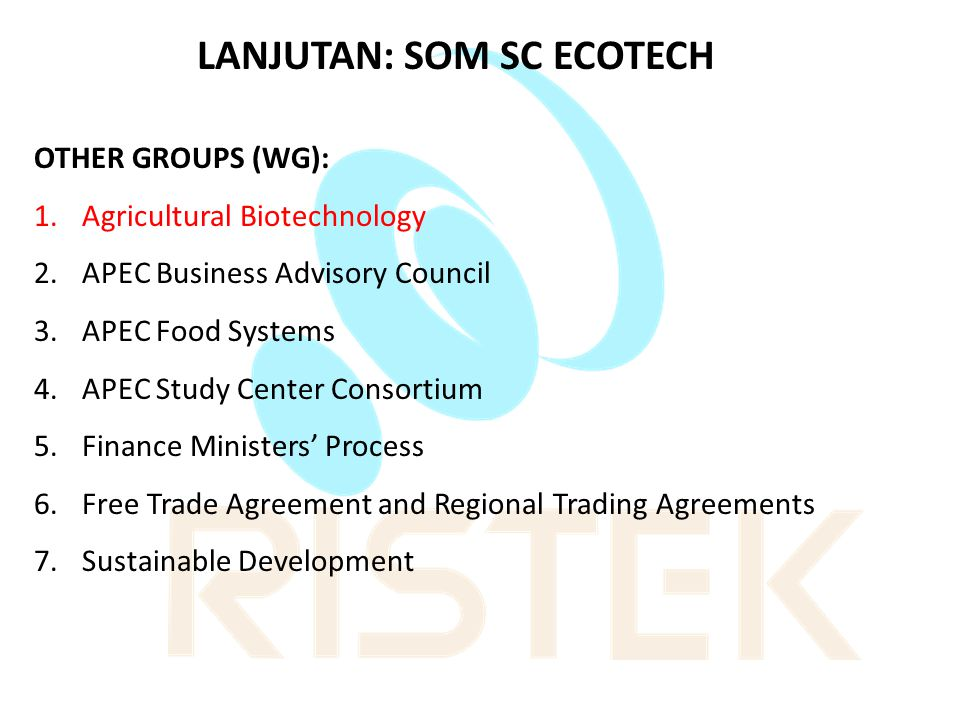 INDUSTRIAL, SCIENCE AND TECHNOLOGY WORKING GROUP (ISTWG) Focal Point ISTWG di Indonesia: Prof.