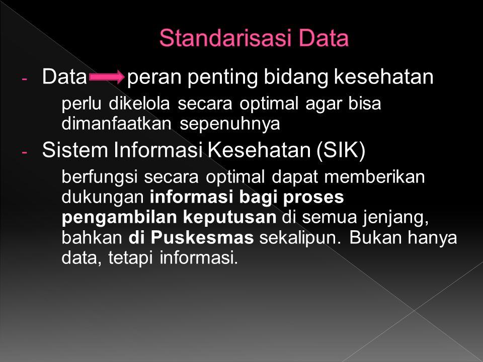 - Data peran penting bidang kesehatan perlu dikelola secara optimal agar bisa dimanfaatkan sepenuhnya - Sistem Informasi Kesehatan (SIK) berfungsi sec