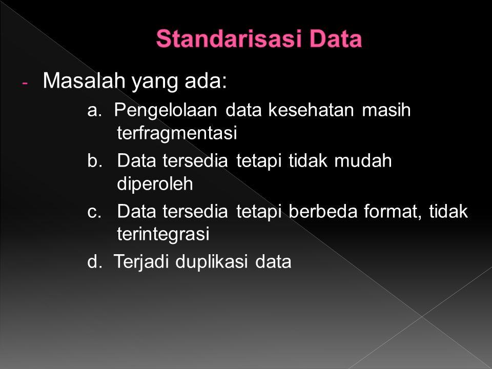 - Masalah yang ada: a. Pengelolaan data kesehatan masih terfragmentasi b.Data tersedia tetapi tidak mudah diperoleh c.Data tersedia tetapi berbeda for