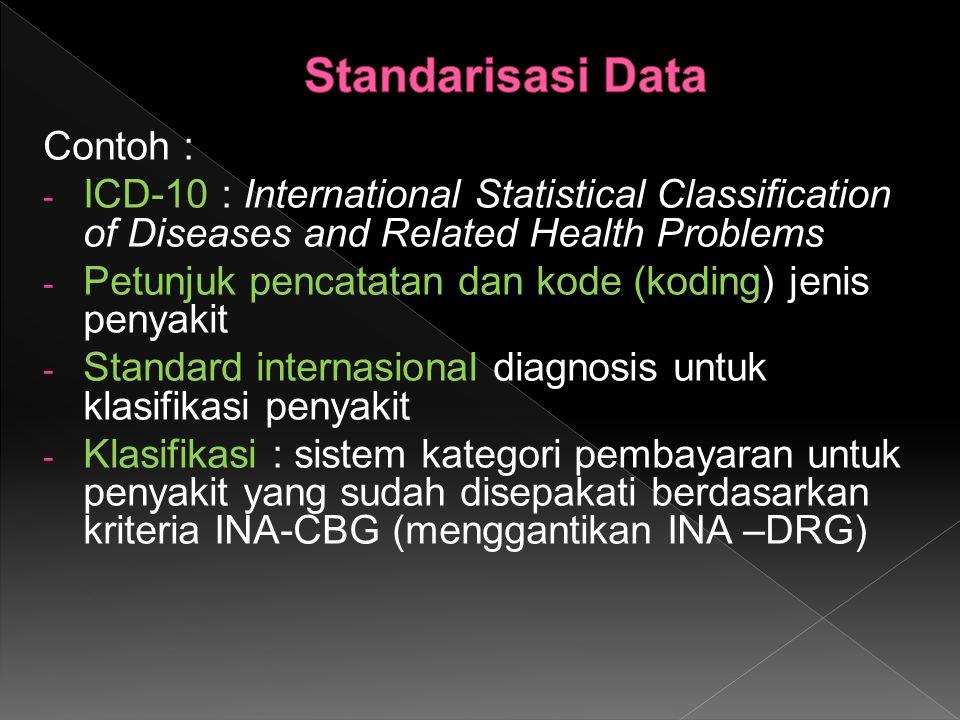 Contoh : - ICD-10 : International Statistical Classification of Diseases and Related Health Problems - Petunjuk pencatatan dan kode (koding) jenis penyakit - Standard internasional diagnosis untuk klasifikasi penyakit - Klasifikasi : sistem kategori pembayaran untuk penyakit yang sudah disepakati berdasarkan kriteria INA-CBG (menggantikan INA –DRG)