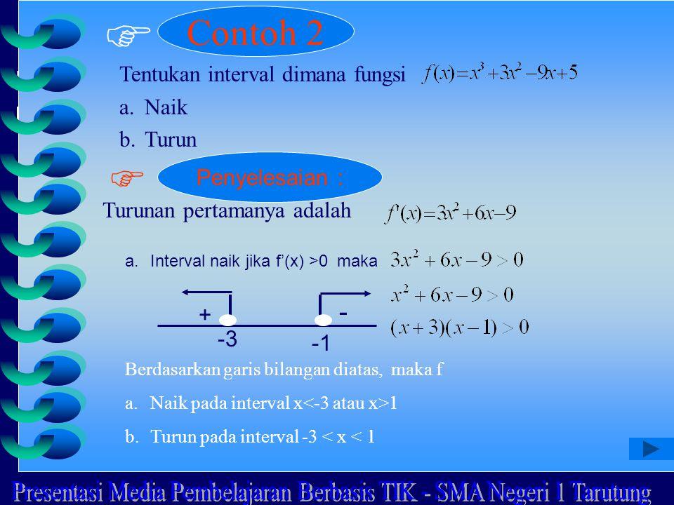  Contoh 2 Tentukan interval dimana fungsi a.Naik b.Turun  Penyelesaian : Turunan pertamanya adalah a.Interval naik jika f'(x) >0 maka + - -3 Berdasa