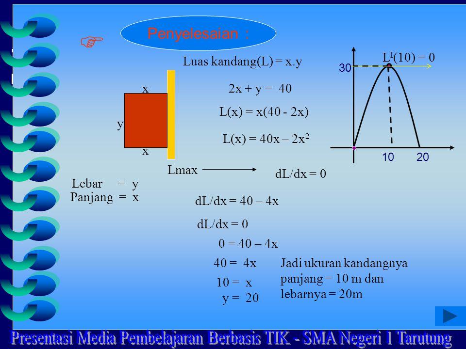 x y Luas kandang(L) = x.y x2x + y = 40 L(x) = x(40 - 2x) L(x) = 40x – 2x 2 Lmax dL/dx = 0 dL/dx = 40 – 4x dL/dx = 0 0 = 40 – 4x 40 = 4x 10 = x y = 20