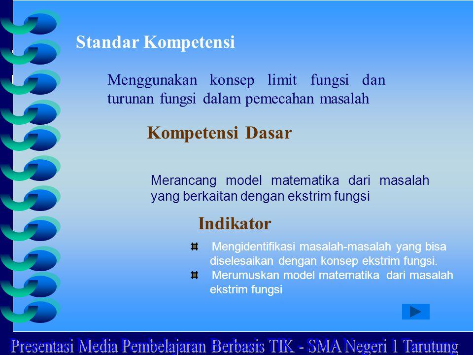 Standar Kompetensi Menggunakan konsep limit fungsi dan turunan fungsi dalam pemecahan masalah Kompetensi Dasar Merancang model matematika dari masalah