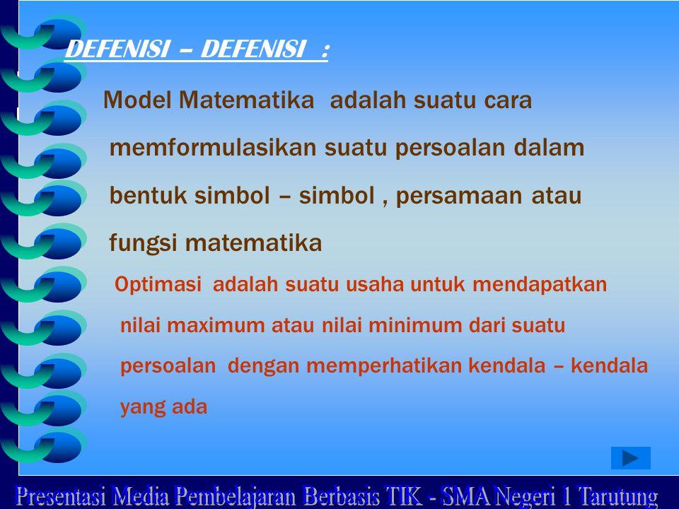 DEFENISI – DEFENISI : Model Matematika adalah suatu cara memformulasikan suatu persoalan dalam bentuk simbol – simbol, persamaan atau fungsi matematik