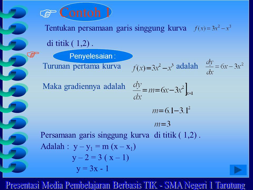  Contoh 1 Tentukan persamaan garis singgung kurva di titik ( 1,2).  Turunan pertama kurva adalah Maka gradiennya adalah Penyelesaian : Persamaan gar