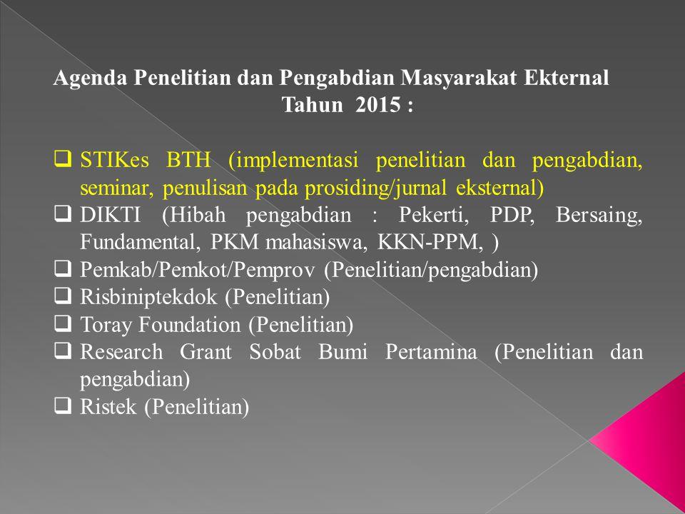 Agenda Penelitian dan Pengabdian Masyarakat Ekternal Tahun 2015 :  STIKes BTH (implementasi penelitian dan pengabdian, seminar, penulisan pada prosid