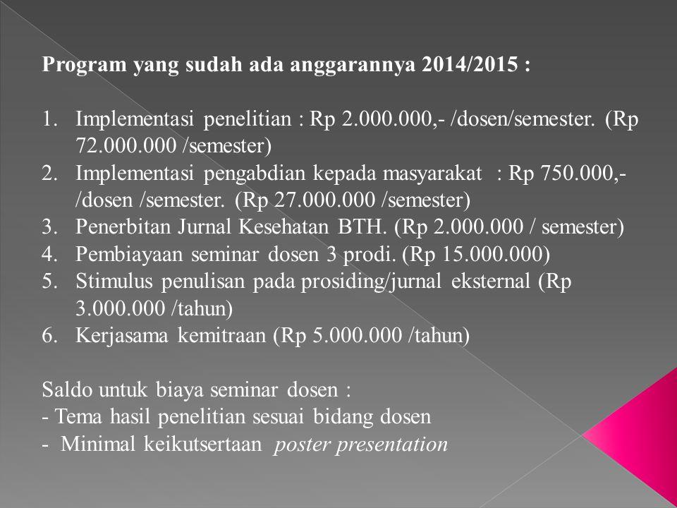 Program yang sudah ada anggarannya 2014/2015 : 1.Implementasi penelitian : Rp 2.000.000,- /dosen/semester. (Rp 72.000.000 /semester) 2.Implementasi pe