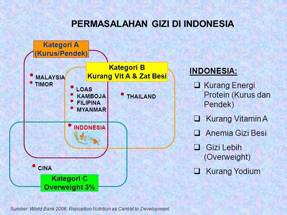 PERMASALAHAN GIZI DI INDONESIA Kategori A (Kurus/Pendek) Kategori B Kurang Vit A & Zat Besi Kategori C Overweight 3% INDONESIA CINA LOAS KAMBOJA FILIPINA MYANMAR THAILAND MALAYSIA TIMOR INDONESIA:  Kurang Energi Protein (Kurus dan Pendek)  Kurang Vitamin A  Anemia Gizi Besi  Gizi Lebih (Overweight)  Kurang Yodium Sumber: World Bank 2006: Reposition Nutrition as Central to Development