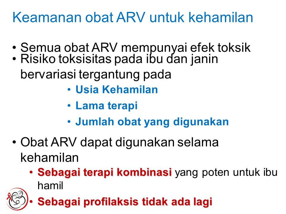 Keamanan obat ARV untuk kehamilan Semua obat ARV mempunyai efek toksik Risiko toksisitas pada ibu dan janin bervariasi tergantung pada Usia Kehamilan Lama terapi Jumlah obat yang digunakan Obat ARV dapat digunakan selama kehamilan Sebagai terapi kombinasiSebagai terapi kombinasi yang poten untuk ibu hamil Sebagai profilaksis tidak ada lagiSebagai profilaksis tidak ada lagi