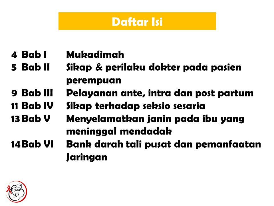 Daftar Isi 4Bab IMukadimah 5Bab IISikap & perilaku dokter pada pasien perempuan 9Bab IIIPelayanan ante, intra dan post partum 11Bab IVSikap terhadap s