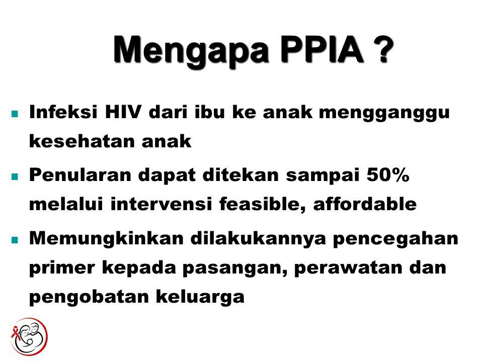 Mengapa PPIA ? Infeksi HIV dari ibu ke anak mengganggu kesehatan anak Penularan dapat ditekan sampai 50% melalui intervensi feasible, affordable Memun