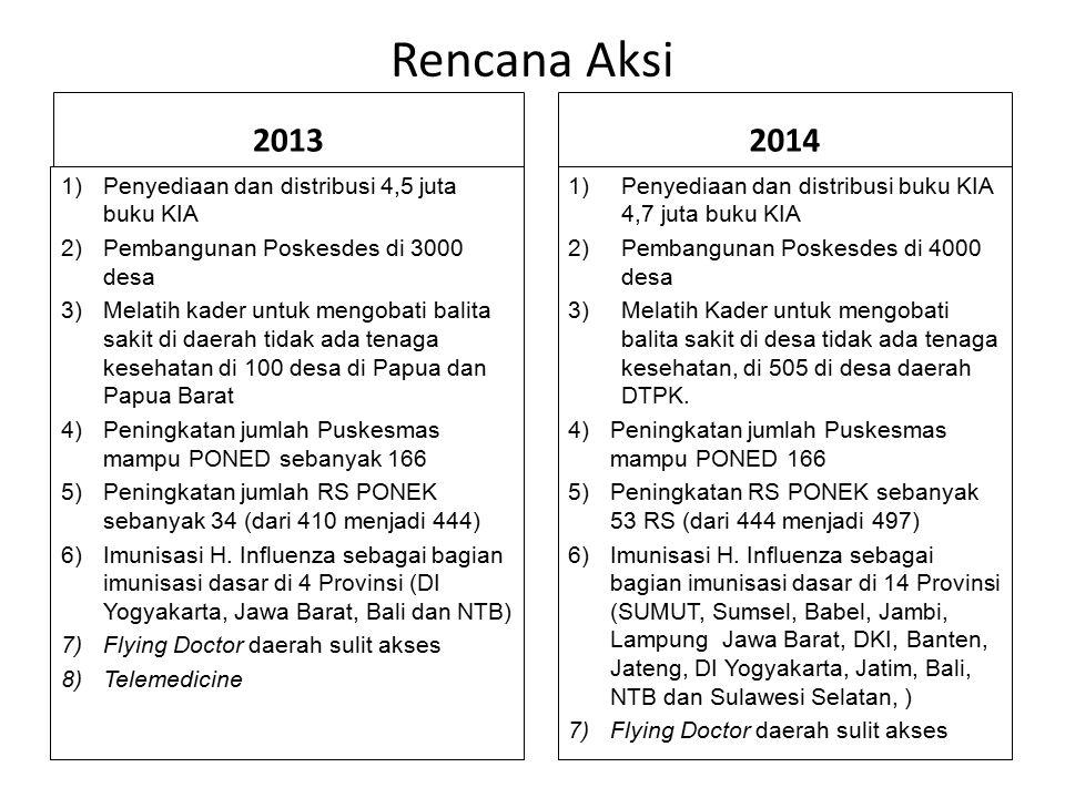 Rencana Aksi 2013 1)Penyediaan dan distribusi 4,5 juta buku KIA 2)Pembangunan Poskesdes di 3000 desa 3)Melatih kader untuk mengobati balita sakit di d