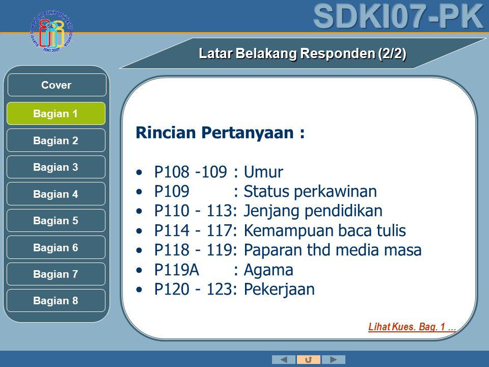 Rincian Pertanyaan : P108 -109: Umur P109: Status perkawinan P110 - 113: Jenjang pendidikan P114 - 117: Kemampuan baca tulis P118 - 119: Paparan thd media masa P119A: Agama P120 - 123: Pekerjaan Latar Belakang Responden (2/2) Bagian 2 Bagian 3 Bagian 1 Bagian 5 Bagian 6 Bagian 4 Bagian 7 Bagian 8 Cover Lihat Kues.