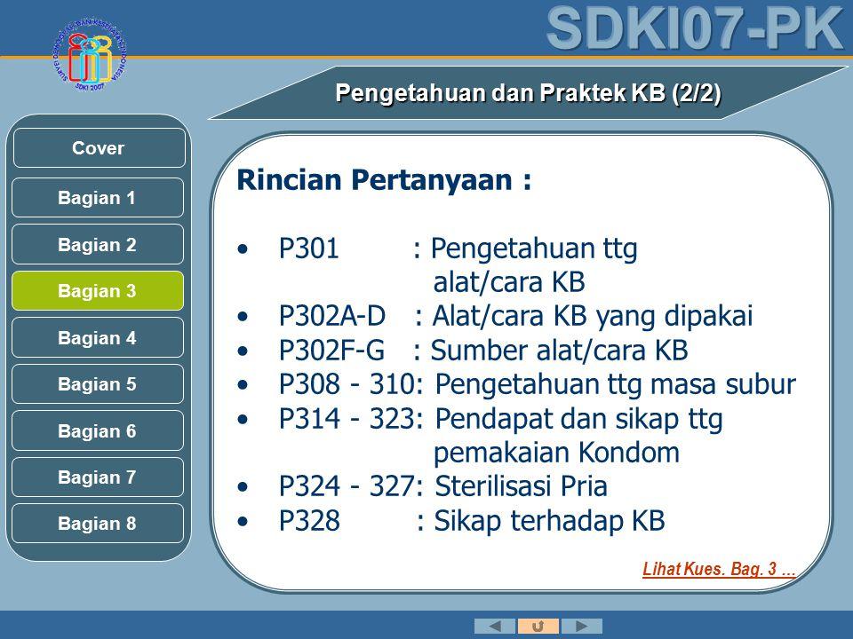 Rincian Pertanyaan : P301 : Pengetahuan ttg alat/cara KB P302A-D : Alat/cara KB yang dipakai P302F-G : Sumber alat/cara KB P308 - 310: Pengetahuan ttg masa subur P314 - 323: Pendapat dan sikap ttg pemakaian Kondom P324 - 327: Sterilisasi Pria P328 : Sikap terhadap KB Pengetahuan dan Praktek KB (2/2) Bagian 2 Bagian 3 Bagian 1 Bagian 5 Bagian 6 Bagian 4 Bagian 7 Bagian 8 Cover Lihat Kues.