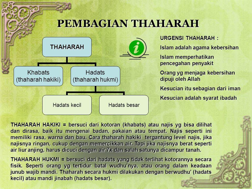 PEMBAGIAN THAHARAH THAHARAH Khabats (thaharah hakiki) Hadats (thaharah hukmi) Hadats kecilHadats besar THAHARAH HAKIKI = bersuci dari kotoran (khabats